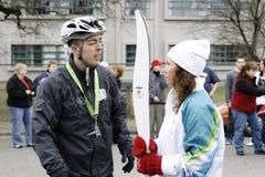 Relè olimpico della torcia di Vancouver Immagini Stock