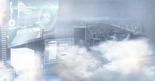 relação da tecnologia na frente da cidade ilustração do vetor