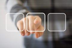 A relação digital tocante do homem de negócios abotoa a Web Imagens de Stock Royalty Free