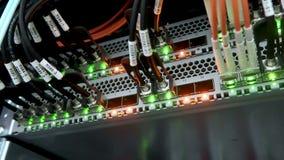 Relação do conector ótico da fibra Ampolas de piscamento Rede informática da tecnologia da informação, fibra da telecomunicação ó video estoque