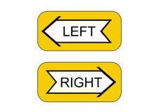 Relação do ponteiro: esquerdo ou direito ilustração stock