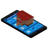 A relação do smartphone com os ícones para controlar a casa esperta ilustração royalty free