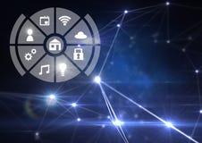 Relação dos ícones do Internet das coisas sobre o fundo claro azul dos conectores ilustração stock