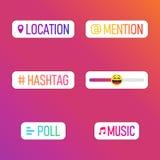 Relação em meios sociais populares Meios sociais das histórias dos ícones Histórias dos moldes, votações, hashtag em meios sociai ilustração stock