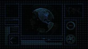 Relação futurista da globalização com resultado múltiplo da janela, um sentido da ciência e os gráficos abstratos da tecnologia ilustração stock