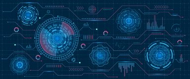Relação futurista Hud Design, elementos de Infographic, tecnologia e ciência, tema da análise, molde UI para o App e virtual ilustração do vetor