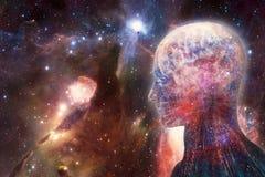 Relação inteligente artificial humana do sumário moderno artístico no fundo bonito colorido da galáxia ilustração do vetor