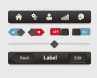 Relação móvel da tabuleta do app do vetor: menu, botão, sobre fora, slider Fotografia de Stock Royalty Free