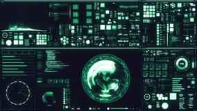 Relação/tela futuristas azuis frias de Digitas ilustração stock