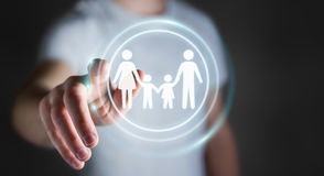 Relação tocante da família do homem de negócios com seu renderi do dedo 3D Foto de Stock