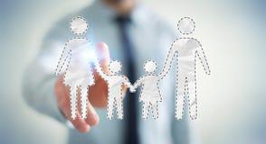 Relação tocante da família do homem de negócios com seu renderi do dedo 3D Fotografia de Stock