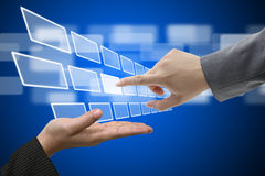 Relação virtual da tela de toque da tecnologia imagens de stock royalty free
