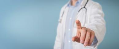 Relação virtual tocante do doutor com seu dedo ilustração do vetor