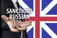 Relações tensas entre Rússia e Grâ Bretanha Conceito do conflito e do esforço Imagem de Stock Royalty Free