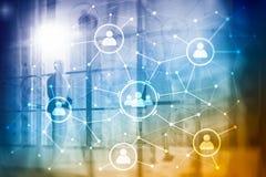 Relación de la gente y estructura de organización Media sociales Concep de la tecnología del negocio y de comunicación foto de archivo