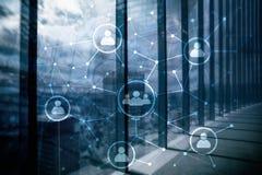 Relación de la gente y estructura de organización Media sociales Concepto de la tecnología del negocio y de comunicación fotografía de archivo libre de regalías