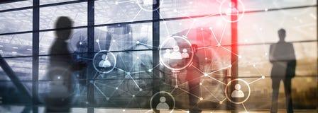 Relación de la gente y estructura de organización Media sociales Concepto de la tecnología del negocio y de comunicación fotografía de archivo