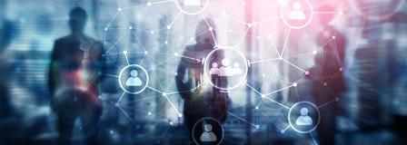 Relación de la gente y estructura de organización Media sociales Concepto de la tecnología del negocio y de comunicación ilustración del vector