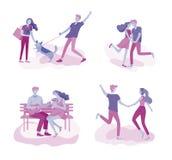 Relación feliz del amante, escenas con los pares románticos que se besan, abrazando, bicicleta que monta, el caminar, jugando a t libre illustration