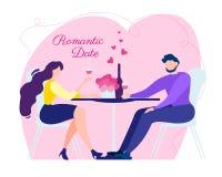 Relación romántica del amor de la fecha de la mujer del hombre de la historieta stock de ilustración