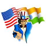 Relacionamento de Índia-América Fotografia de Stock