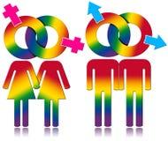 Relacionamento do gay e lesbiana - símbolos coloridos arco-íris ilustração royalty free