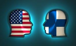 Relacionamento político e econômico entre EUA e Finlandia Fotografia de Stock