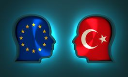 Relacionamento político e econômico entre a União Europeia e a Turquia Imagens de Stock Royalty Free