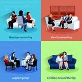 Relacionamento que aconselha o quare liso de 4 ícones ilustração stock