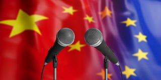 Relaciones de la UE y de China Dos micrófonos del cable en frente Banderas para el fondo ilustración 3D ilustración del vector