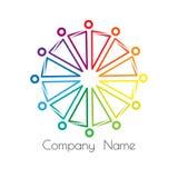 Relaciones e igualdad socioculturales del logotipo del arco iris soporte de la gente en un círculo que lleva a cabo las manos libre illustration