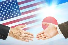 Relações amigáveis entre o Estados Unidos e o Japão Imagem de Stock