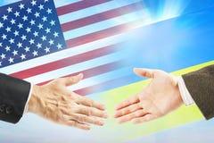 Relações amigáveis entre o Estados Unidos e a Ucrânia Imagens de Stock
