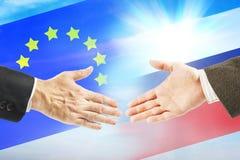 Relações amigáveis entre Rússia e a União Europeia Imagens de Stock Royalty Free