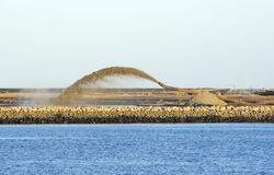 Relaimed. Reclamation for port purposes of land by dredging Royalty Free Stock Photography