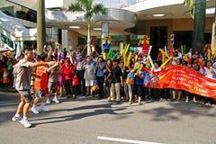 Relais de la antorcha de los Juegos Olímpicos 2010 de la juventud Foto de archivo libre de regalías