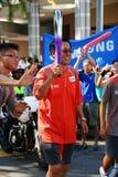 Relais de la antorcha de los Juegos Olímpicos 2010 de la juventud Foto de archivo