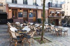 The Relais de la butte is historical restaurant located in Montmatre area of Paris, France. Paris, France-January 14, 2018: le Relais de la butte is historical Stock Images