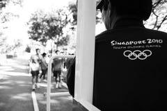 Relais de torche des Jeux Olympiques 2010 de la jeunesse Photographie stock