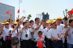 Relais olympique de torche de support public Images stock