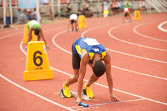 Relais in Thailand Open-athletischer Meisterschaft 2013. Stockfoto