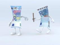 Relais tussen oude en nieuwe 20 euro nota's vector illustratie