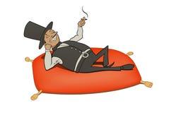 Relajación del hombre rico stock de ilustración