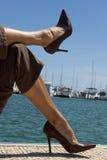 Relajación en el puerto deportivo Imágenes de archivo libres de regalías