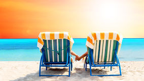 Relajación en la playa Imágenes de archivo libres de regalías