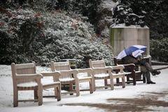 Relajación en parque en invierno Imagen de archivo libre de regalías