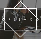 Relaje el concepto de la vida de la felicidad de la relajación imagen de archivo