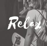 Relaje el concepto de reclinación de la salud de las vacaciones de la vida desapasible tranquila Imagenes de archivo