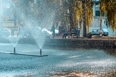 Relaks i medytacja, fontanna w parku Zdjęcia Royalty Free