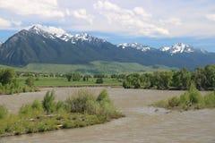 Relaksujący Śnieżni góra krajobrazy od Montana obrazy stock